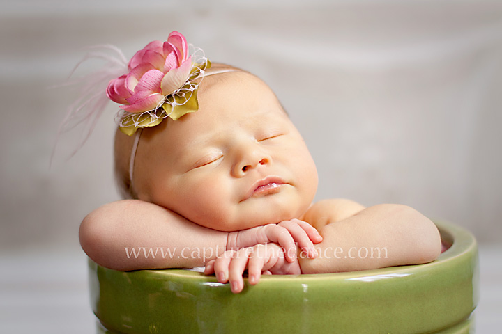 Baby Emma sleeps in a flower pot in The Woodlands TX.